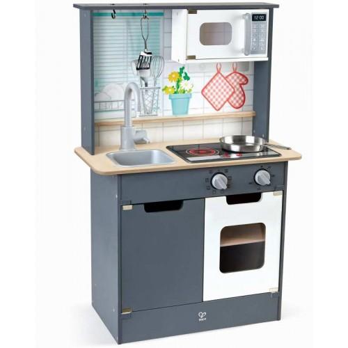 Παιδική Κουζίνα Ξύλινη με Ελαφρύ Ήχο και Αξεσουάρ Hape E3166