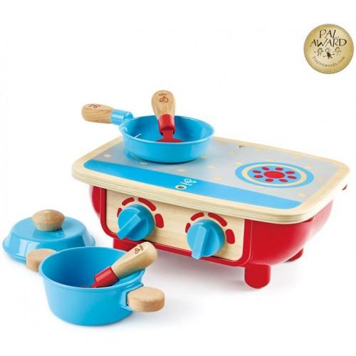 Hape Toddler Kitchen Set - Μικρή Κουζίνα Με Τηγάνι, Κατσαρόλα Και 2 Σπάτουλες - 6Τεμ. (E3170)